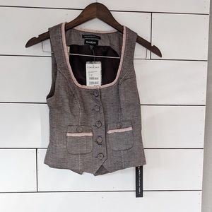 Bebe Brown and Light Pink Bustier Vest NWT XS